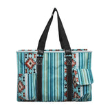 NGIL All Purpose Organizer Medium Utility Tote Bag Blue Serape Black
