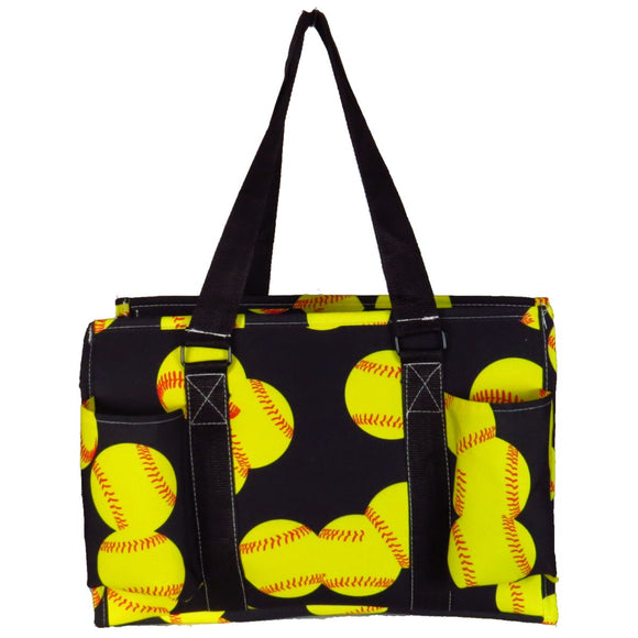 EGFAS All Purpose Organizer Medium Utility Tote Bag Softball Black