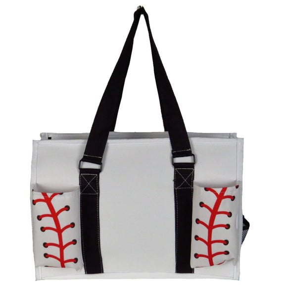 EGFAS All Purpose Organizer Medium Utility Tote Bag White Baseball