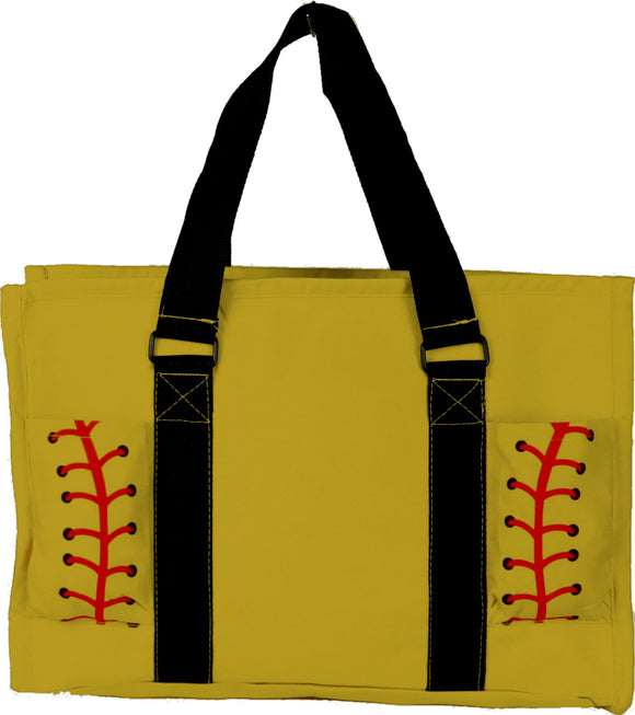 EGFAS All Purpose Organizer Medium Utility Tote Bag Yellow Softball