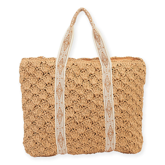 Sun N' Sand Toasted Almond Shoulder Tote Beach Bag 6060