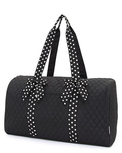 "Belvah Large Quilted Solid Color 21"" Duffle Bag with Polka Dot Detachable Ribbons"