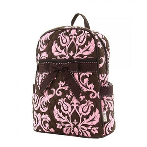 Belvah Large Quilted Damask Print Backpack (Brown/Pink)