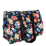 "EGFAS All Purpose 8 Pocket Organizer 18"" LARGE Utility Tote Bag Flowers Black"