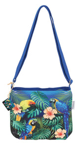 Guy Harvey Tropical Jungle Macaw Parrot Small Womens Cross Body Bag