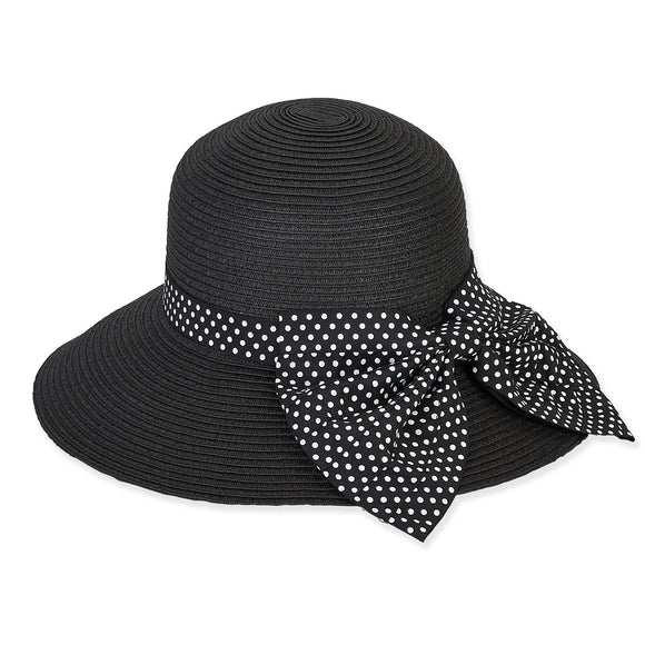 Sun 'N' Sand Paper Braid Hat with Polka Dot Ribbon 1509