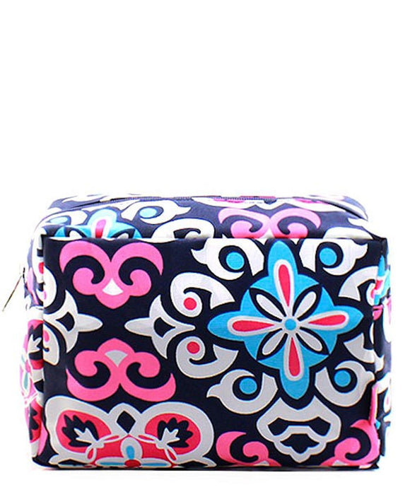 NGIL Large Travel Cosmetic Pouch Bag Geo Floral Navy