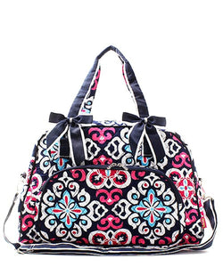 NGIL Quilted Large Weekender Duffel Bag (Geo Floral Navy)