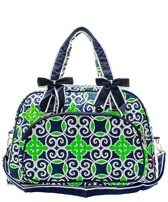 NGIL Quilted Large Weekender Duffel Bag (Geo Navy Green)
