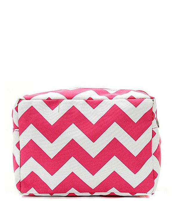NGIL Large Travel Cosmetic Pouch Bag Chevron Hot Pink