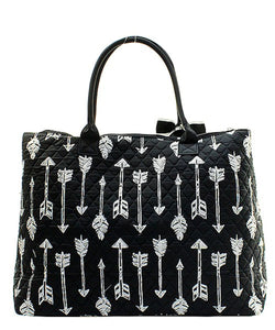 NGIL Extra Large Quilted Cotton Tote Bag Arrow