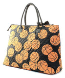 NGIL Extra Large Quilted Cotton Tote Bag Basketball Black