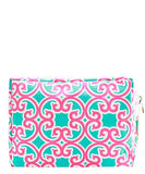 NGIL Large Travel Cosmetic Pouch Bag Geo Aqua Pink
