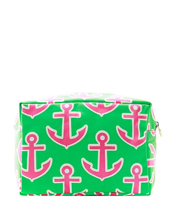NGIL Large Travel Cosmetic Pouch Bag Anchor Lime Fuchsia