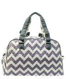 NGIL Quilted Large Weekender Duffel Bag (Chevron Grey Hot Pink)