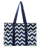 "NGIL All Purpose Organizer 18"" Large Utility Tote Bag Chevron Navy"