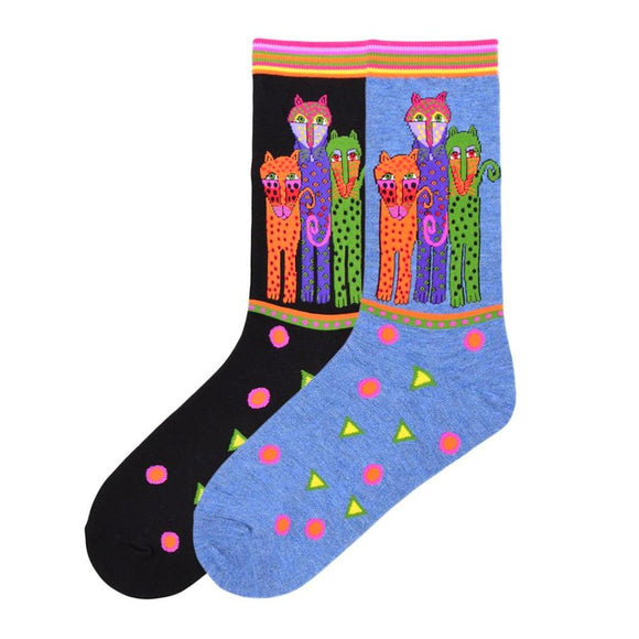 Laurel Burch Women's Crew Socks 2 Pair (Polka Dot Leopard Black Denim)