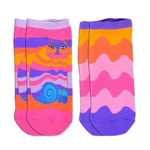 Laurel Burch Women's 2 Pack Lively Nature Crew Socks Rainbow Cats