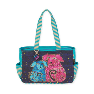 Laurel Burch Blossoming Pups Medium Tote Bag