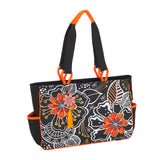 Laurel Burch White On Black Floral Medium Tote