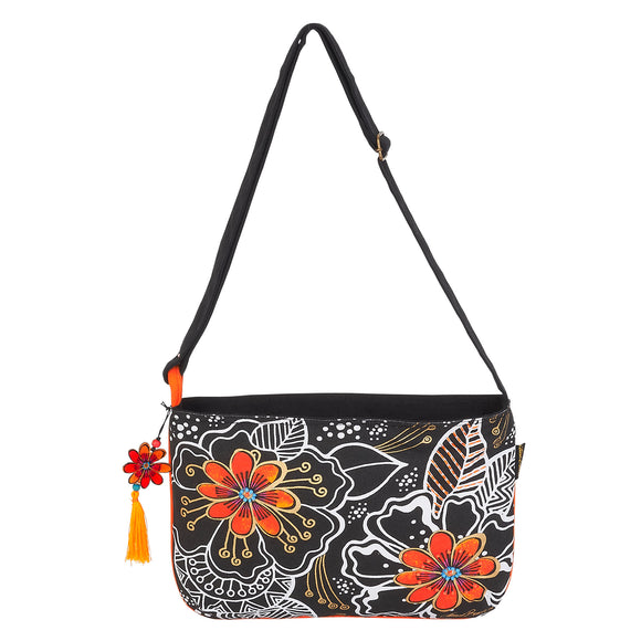 Laurel Burch White on Black Floral Crossbody Bag