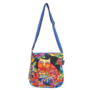 Laurel Burch Cotton Crossbody -Cat Mother Daughter in Flowers