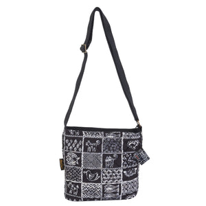 Laurel Burch Quilted Cotton Stamps Pattern Crossbody Bag