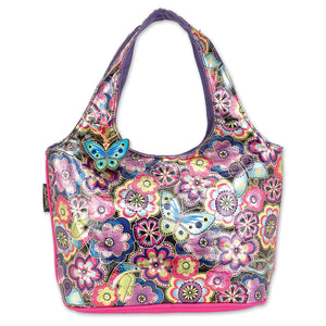 Laurel Burch Women's Indigo Purple Multi Floral Foiled Canvas Scoop Tote Style Handbag Purse