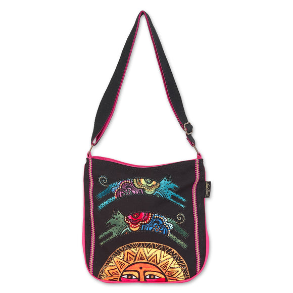 Laurel Burch Over the Sun Dogs Crossbody Shoulder Bag Purse Women Cotton Canvas Handbag