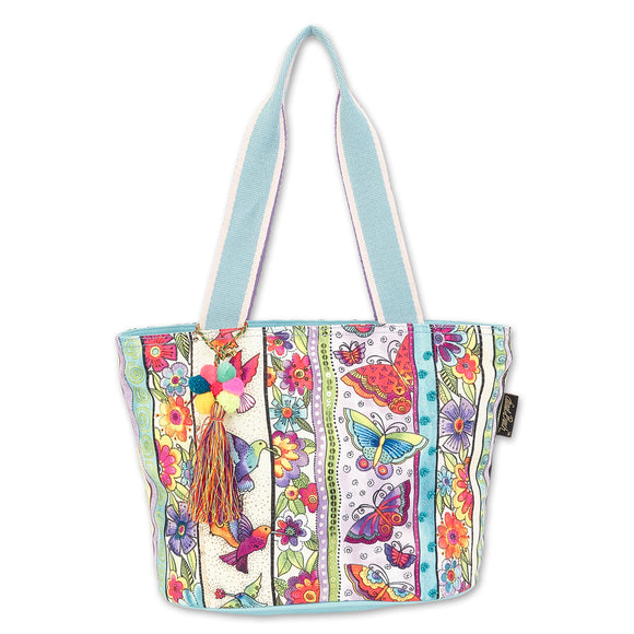 Laurel Burch Butterfly Floral Medium Shoulder Bag Tote Style Handbag Purse