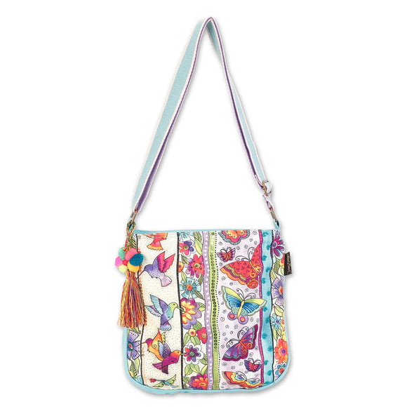 Laurel Burch Butterfly Floral Crossbody Shoulder Bag Purse - Women Cotton Canvas Multicolor Handbag