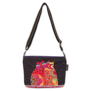 Laurel Burch Women Festive Felines Cotton Canvas Crossbody Shoulder Bag Handbag Purse