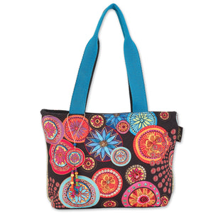 Laurel Burch Women's Circle Florals Medium Shoulder Bag Tote Style Handbag Purse