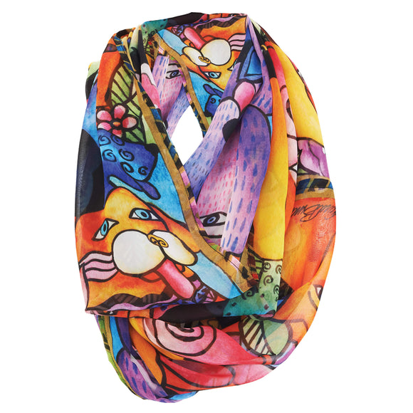 Laurel Burch Infinity Scarf Canine Clan
