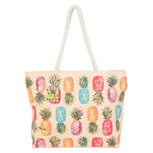 Guy Harvey Happy Pineapples Large Tote Beach Bag