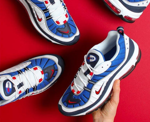 "The Nike Air Max 98 OG ""Gundam' and 'Tour Yellow' drop at Urban Industry"