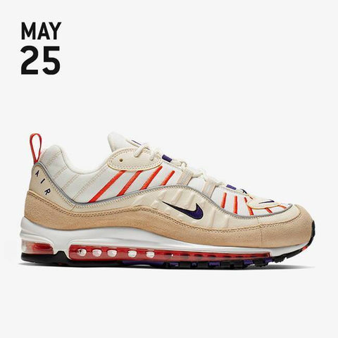 Nike Air Max 98 Shoes - Sail/Court Purple/Light Cream/Desert Ore - 640744-108
