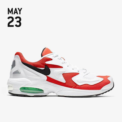 new products 96d44 024cc Nike Air Max2 Light Shoes - White Black Habanero Red Cool Grey - AO1741-101