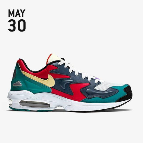 Nike Air Max2 Light Shoes - Habanero Red/Armory Navy/Radiant Emerald - BV1359-600