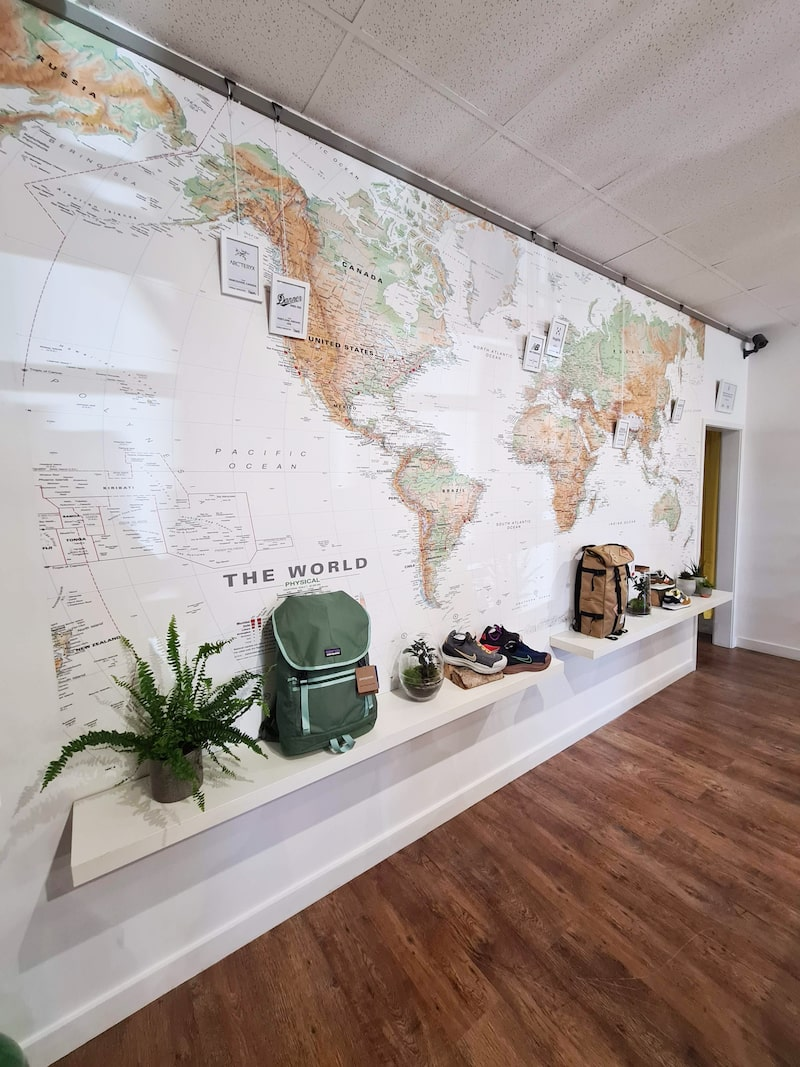 Urban Industry Depot store, with world map wall-display