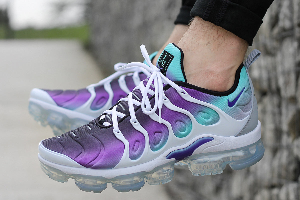 huge selection of 1aafd fca90 NIKE AIR VAPORMAX PLUS SHOES – WHITE/FIERCE PURPLE/AURORA ...