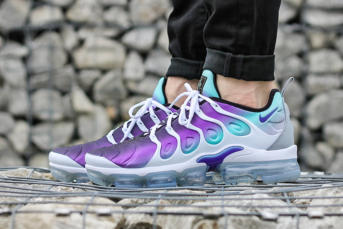 huge selection of 5de14 b387b NIKE AIR VAPORMAX PLUS SHOES – WHITE/FIERCE PURPLE/AURORA ...