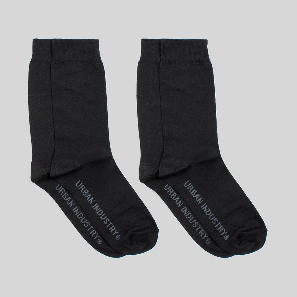 Urban Industry 2 Pack Crew Socks - Black
