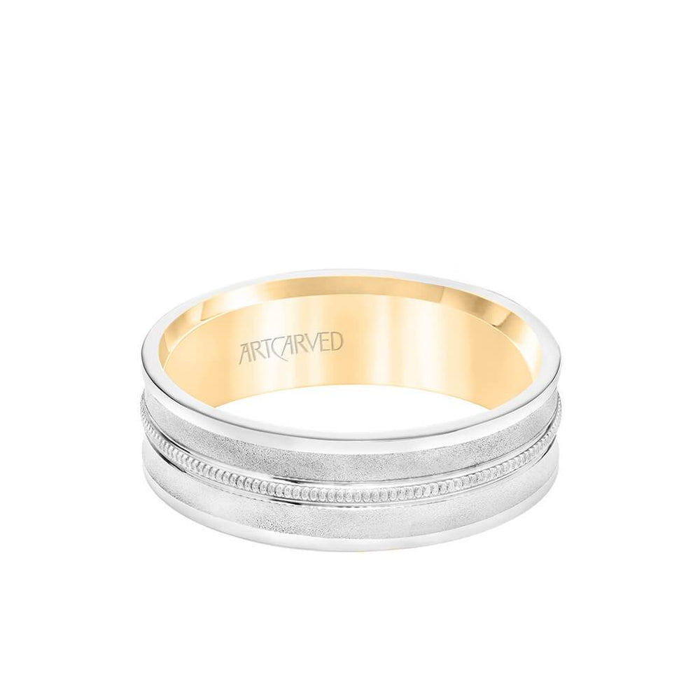 6.5MM Men's Wedding Band - White Gold Bright Soft Sand Finish with Milgrain Center with Rose Gold Interior and Flat Edge
