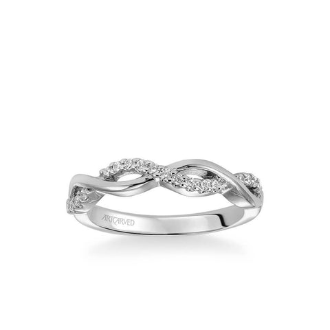 Gabriella Contemporary Half Diamond Half Polished Twist Wedding Band