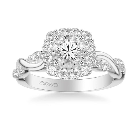 Bella Contemporary Cushion Halo Round Center Twist Diamond Engagement Ring