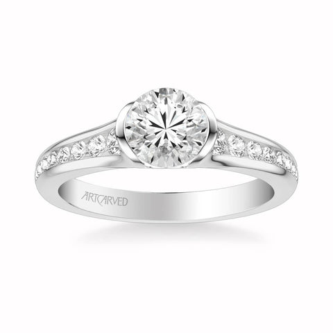Carina Contemporary Side Stone Bezel Diamond Engagement Ring