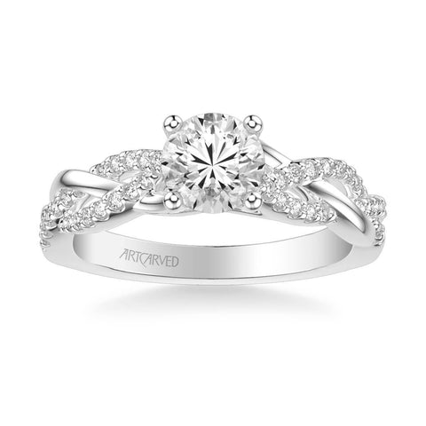 Virginia Contemporary Side Stone Twist Diamond Engagement Ring