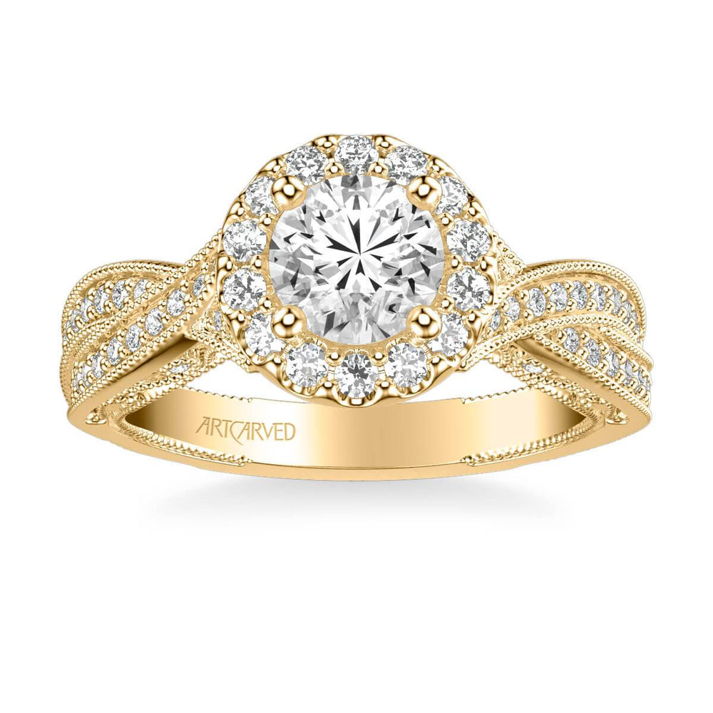 Lucinda Vintage Round Halo Heritage Collection Diamond Engagement Ring