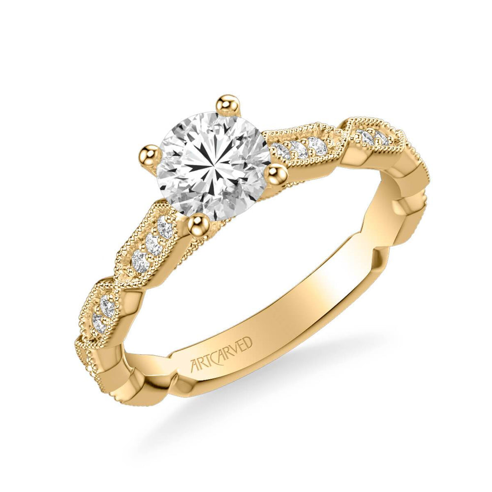 Cressida Vintage Side Stone Diamond Engagement Ring